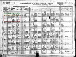 Niesl, George 1920 US Census hilighted